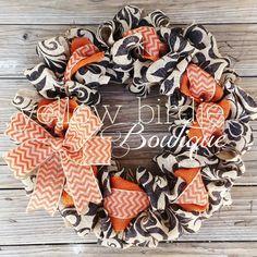 Fall Burlap Wreath - Black and Orange Chevron Burlap Wreath- Halloween Wreath…