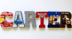 Disney Cars Letters by ShopLiamSloane on Etsy Disney Cars Room, Disney Cars Party, Car Themed Bedrooms, Car Bedroom, Bedroom Ideas, Cars Birthday Parties, 3rd Birthday, Boy Room, Kids Room