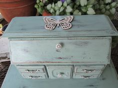 XLarge Mint SHABBY CHIC Jewelry Box Armoire Cabinet by Eweniques, $150.00
