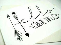 Hello Beautiful Card- idea to make Hello Beautiful, Beautiful Friend, Karten Diy, Tips & Tricks, Cards For Friends, Chalkboard Art, Drawing Tips, Diy Cards, Word Art