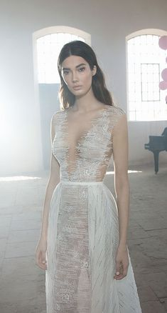 Deep v plunging a line wedding gown detachable skirt : Lee Petra Grebenau Wedding Dresses 2018 – Symphony In White 2018 bridal collection #wedding #weddingdress #weddingown #bridedress