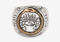 """Digby & Iona Ouroboros Signet. """"The words 'Hen To Pan' encircle to the edge of the ring which translate to 'One Is The All' and was the text found with a famous early alchemical illustration of the ouroboros."""""""