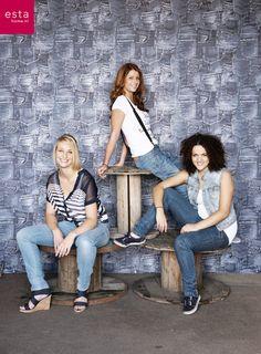 wallpaper jeans blue, collection Denim & Co ESTAhome.nl