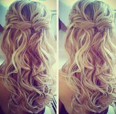 Curly waterfall braided hair