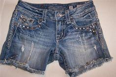MISS ME Sz 25 Cut Off Jean Denim Shorts Distressed Rhinestone Studs Frayed Hem #MissMe #Denim