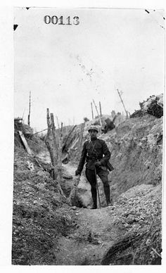WWI, April 1917; Maj. William Mitchell standing in a French trench near Verdun. Credit; Library of Congress