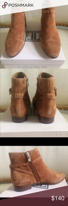 IVANKA TRUMP MERIA Suede Camel Flat Booties IVANKA TRUMP MERIA Suede Camel Flat Booties. Size 8 M. Cushioned footbed. Leather upper - synthetic lining and sole. Side zip closure Ivanka Trump Shoes Ankle Boots & Booties
