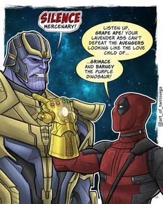 Things are gearing up for Infinity War, and The Avengers are facing off against their biggest villain yet! Deadpool, however, isn't all that impressed by The Mad Titan. Who do you want to see most in Infinity War? Deadpool Art, Deadpool Funny, Funny Marvel Memes, Dc Memes, Avengers Memes, Marvel Jokes, Marvel Vs, Marvel Dc Comics, Funny Comics