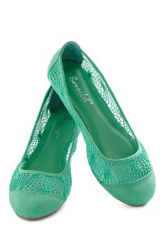 teal cute flat shoes for $33 with lace design, lovely Craft Fair Flare Flat in Teal - Green, Solid, Crochet, Flat, Casual
