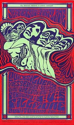 Jefferson Airplane,  Quicksilver Messenger Service, and Dino Valenti at the Fillmore,  1967. Artist:  Wes Wilson.