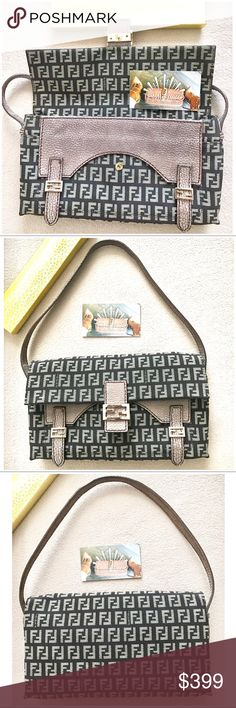Just IN 💯Authentic Fendi Zucchino Leather Handbag Authentic Fendi leather evening bag 💯with a pinch of light pink leather interior and Item was used once and in amazing pristine condition like New . This is a classy evening outing bag with an option on tucking handle in or leaving it out . But with confidence or money back guaranteed .. stay classy and sexy always 💖❤️😘 Fendi Bags Shoulder Bags