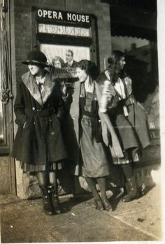 The Opera House. North Dakota. 1920's Note the open galoshes, it was a teenage fad. :)