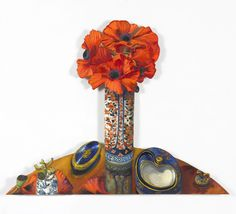 """""""Carlton Ware, Limoges Porcelain and a Tall Pot of Poppies""""  From my new series of smaller paintings, to be exhibited 16/17 November -  susan@whitcombeassocs.co.uk or tel 020 7736 5605 stating your preferred time #contemporaryart"""
