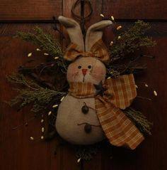 ★ Small Primitive Folk Art Bunny Easter Rabbit Doll Spring Greeter Star Wreath ★  