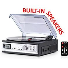 Record Player with Speakers and Cassette Player - Record on USB From Turntable & Cassette - 3 Speed Stereo Vinyl Record Player - A Vinyl Player with a Remote Control - Wooden Phonograph Record Player