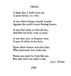 Joyce Kilmer....this is one of my favorites..had to put to memory in the 8th grade!!!