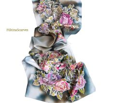 Hand Painted Silk Scarf Night Roses Silk satin scarf