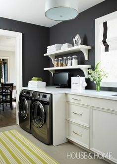 Gorgeous Neutral Laundry Room love the black door and craftsman
