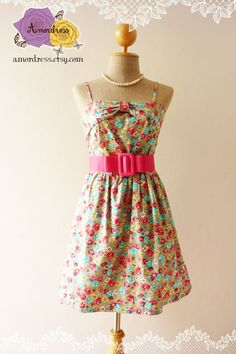 Summer Dress Gray Blue Yellow Red Floral Wonder by Amordress, $42.00