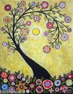 Rug Hook Crafts Paper Pattern Collage Tree Folk Art Abstract Primitive Karla G Primitive Kunst, Art Fantaisiste, Art Carte, Ouvrages D'art, Naive Art, Whimsical Art, Tree Art, Tree Collage, Owl Tree