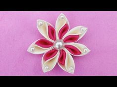 DIY Ribbon Kanzashi Flower Hair clip I Ribbon Flower Tutorial I How to - YouTube