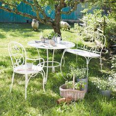 Salon DE Jardin 1 Table ET 2 Chaises FER Forgé Style Antique Blanc ...