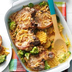 Baked Chops and Cottage Fries Recipe -Convenience items like frozen vegetables and a jar of cheese sauce make it a snap to assemble this comforting pork chop supper. It's a simple one-dish meal. —Gregg Voss, Emerson, Nebraska