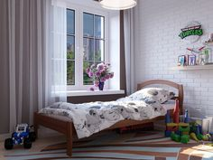 Кровать односпальная Юлия 90х190 - недорогая кровать из натурального дерева. a54ee542d12bd