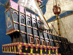"""Detail from a model of the """"Golden Hind. Golden Hind, Wooden Ship, Tall Ships, Models, Model Ships, Queen Anne, Sailing Ships, Solomon, Revenge"""