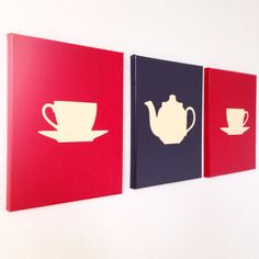 Tea Set Canvas Set by ADapperDuck on etsy ADapperDuck.com