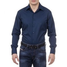 Color: Dark Blue Size: 44 IT – 17½ US Made of: 100% COTTON By Versace 19.69 Abbigliamento Sportivo Srl Milano Italia – Details: 377 VAR. 504 – Color: Dark Blue – Composition: 100% COTTON – Made: ITALY – Botton Closure – Front Logo – Long Sleeve Denim Button Up, Button Up Shirts, Fred Perry, Versace, Sweaters For Women, Shirt Dress, Classic, Mens Tops, Cotton