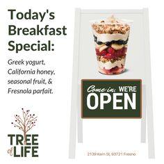 Today's breakfast special. Greek yogurt, California honey, seasonal fruit, and Fresnola parfait. Fresno = Fresno's own granola.