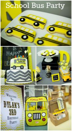 What a terrific school bus party for a boy birthday! Love the school bus birthday cake. See more party ideas at CatchMyParty.com.