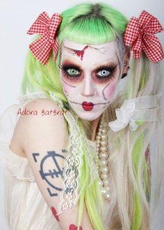 make up, rag doll, gothic, pastel