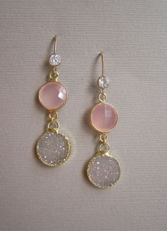 Linear Druzy Earrings Rose Drusy Quartz Gold by julianneblumlo, $125.00
