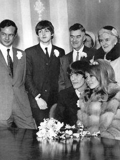 The Beatles with Brian ~ Pattie Boyd and George Harrison's wedding in 1966
