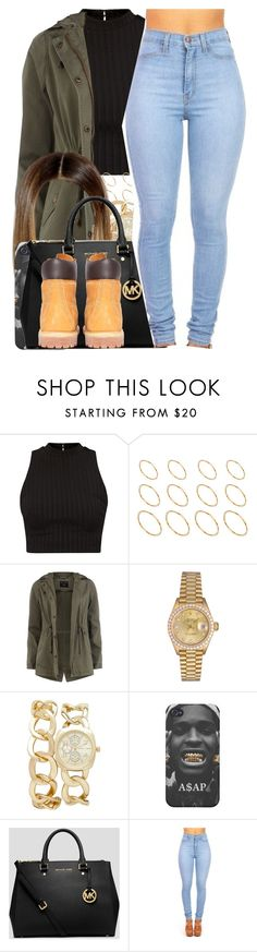 """""""Fetty Wap / Again"""" by nasiaamiraaa ❤ liked on Polyvore featuring ASOS, Dorothy Perkins, Rolex, Forever New, MICHAEL Michael Kors, Timberland and NanaOutfits"""