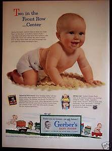 Image detail for -Original-1953-GERBERS-BABY-FOODS-Cute-Baby-vintage-ad