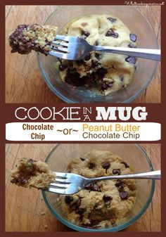 Cookie In A Mug Recipe - Chocolate Chip or Peanut Butter Chocolate Chip mug cake Microwave Chocolate Chip Cookie, Chocolate Chip Recipes, Chocolate Chip Cookies, Microwave Cookies, Chocolate Chips, Chocolate Smoothies, Mug Cake Microwave, Microwave Recipes, Chocolate Cake