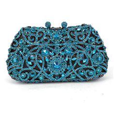 63.25$  Buy now - http://alilm0.worldwells.pw/go.php?t=32789399983 - Fashion Women aquamarine Plating Flower Hollow Out Crystal Evening Metal Clutches Small Minaudiere Handbag Wedding Clutch (529)