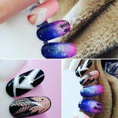 Malu malu ♡♡♡ #nailart #odetteswan #nailsforever #nailswag #nailstagram #nail2inspire #nails4instagram #hybrydanails #freetime #ombre #geometric #forestatnight #starssky #rapidoart #semilac