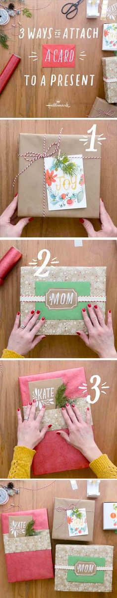 Looking to add a little extra oomph to your presents this holiday season? Check out this easy gift wrap how-t0 from Hallmark! Three ways to attach a card to your gift. Click through to see the whole video and get inspired!