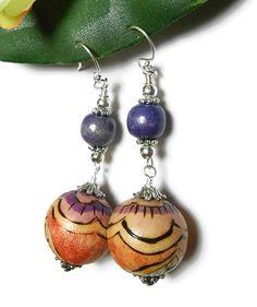 Beaded Earrings Dangle Fashion Jewelry Wood by PinkCloudsAndAngels