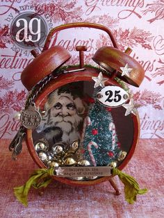 Annette s creative journey compendium challenge 10 assemblage clock Christmas Clock, Christmas Shadow Boxes, All Things Christmas, Vintage Christmas, Christmas Holidays, Christmas Decorations, Christmas Ornaments, Altered Art Christmas, Christmas Projects