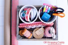 Create a Gift Wrapping Caddy to tackle those black friday & cyber monday purchases! #giftwrapcaddy #giftwrappingcaddy #blackfriday #abowlfulloflemons #cybermonday #organize