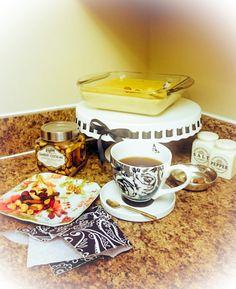 Preparing evening tea for friends.