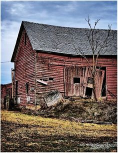 You better get strong somehow, now that you've fallen from grace Old Buildings, Abandoned Buildings, Abandoned Places, Farm Barn, Old Farm, Country Barns, Country Life, Barns Sheds, Red Barns