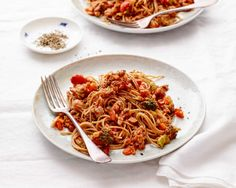 """Healthy Spaghetti """"Bolognese"""". lots of easy swaps update a traditional recipe. YUM!"""