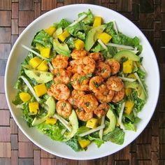 Tropical Shrimp Salad with avocado, mango, jicama and a honey chipotle dressing.