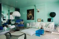 Paint Your Ceiling the Same Color as Your Walls -Allover aqua makes the perfect backdrop for interior designer Benjamin Noriega-Ortiz' trademark elegant eclecticism. Check out Marie Antoinette in that Lucite frame. Spotted on Desire to Inspire.